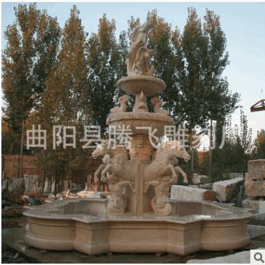 供应大理石喷泉 曲阳石雕 埃及米黄人物喷水池 大型雕刻广场摆放