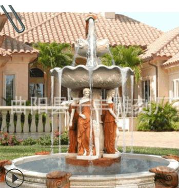 大理石喷泉叠水氺钵价格优惠河北石雕厂家批发欧式黄锈石人物喷泉