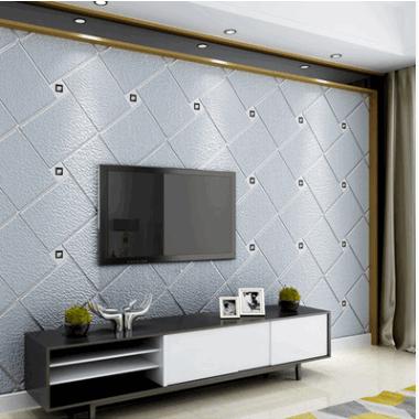 现代简约3D立体欧式客厅电视背景墙壁纸无纺布卧室鹿皮绒墙纸