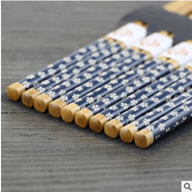 日式创意竹质筷子 天然创意 深蓝花五双装竹筷子 筷子礼品套装