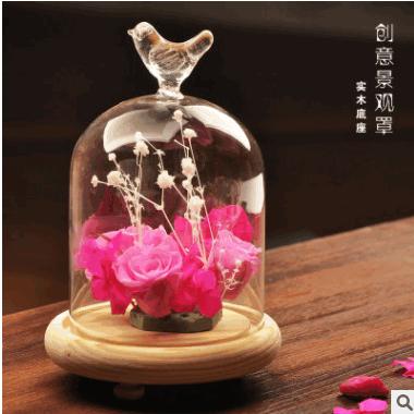 创意礼物永生花玻璃罩保鲜花蛋糕罩微景观玻璃花瓶礼品批发