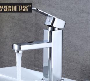 建材家装 浴室柜单孔冷热水龙头锌合金台盆脸盆龙头 方形面盆龙头