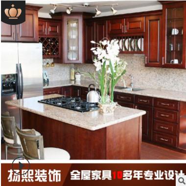 上海厂家批发定制实木整体橱柜 仿古欧式厨房柜 厂家设计厨房家具