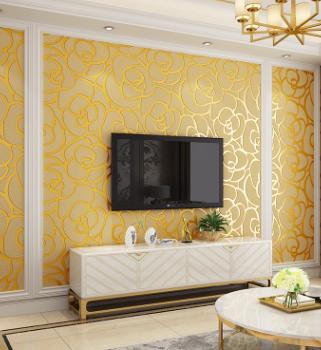 加厚3D立体鹿皮绒客厅电视背景墙纸金色玫瑰花卧室床头影视墙壁纸