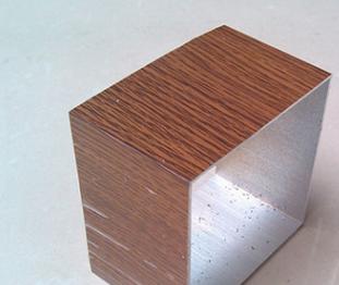 现货100*100毫米仿木纹色铝合金方管 10厘米木纹转印铝方管装饰管