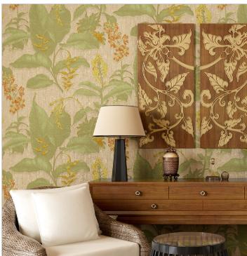东南亚风格壁纸 中式卧室无纺布墙纸客厅书房电视背景墙复古个性