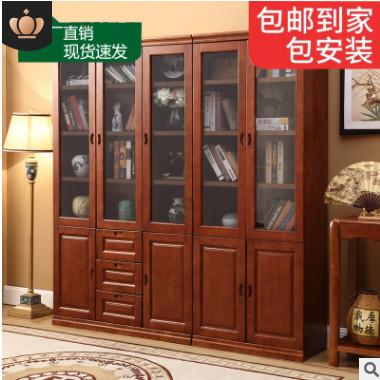实木书柜组合儿童简约中式实木书橱2门3门书架简易实木储物柜置物