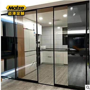厨房推拉门 铝合金细边黑色框玻璃移门 阳台门吊趟门佛山厂家定制