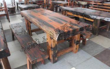 老船木家具大班桌2米大板茶桌原生态地中海会所酒店茶庄厂家直销