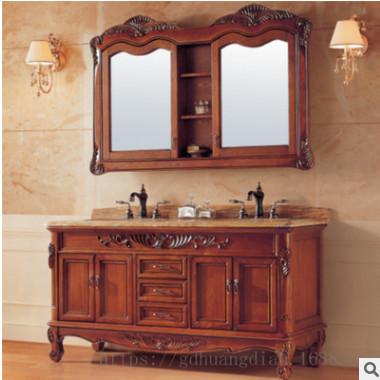 美式乡村红橡实木浴室柜 卫生间天然大理石台面洗手台浴室镜一体