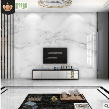 微晶石瓷砖电视背景墙大理石渗墨大板现代简约客厅金属造型爵士白