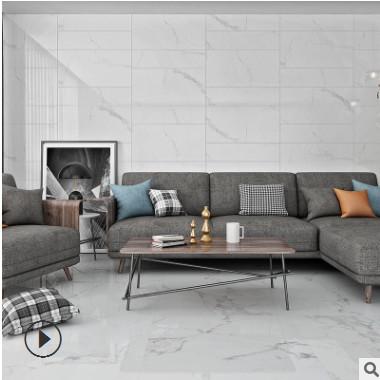 佛山通体大理石瓷砖400*800 客厅厨卫负离子爵士白地砖墙砖