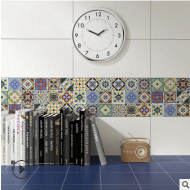 100×100复古小花砖亮面彩色腰线瓷砖窗台角花墙砖凹凸不平吧台砖