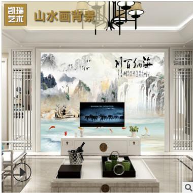 厂家定制 沙发画现代简约微晶石 海纳百川大理石纹背景墙000105